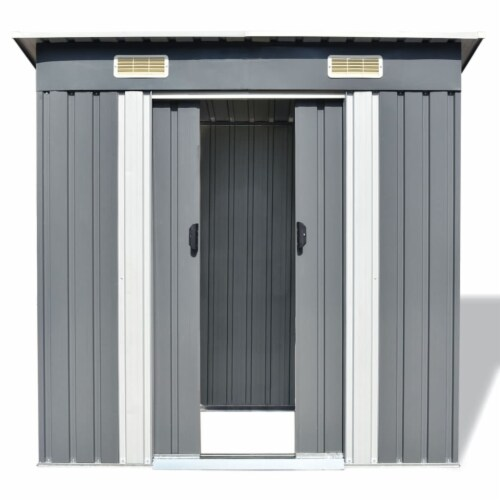 vidaXL Garden Shed Gray Metal 74.8 x48.8 x71.3 Perspective: back