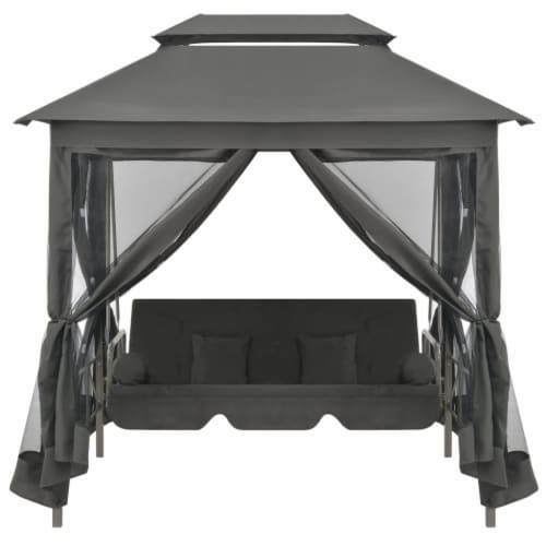 vidaXL Outdoor Convertible Swing Bench with Canopy Anthracite 86.6 x63 x94.5  Steel Perspective: back