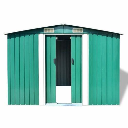 vidaXL Garden Storage Shed Green Metal 101.2 x80.7 x70.1 Perspective: back