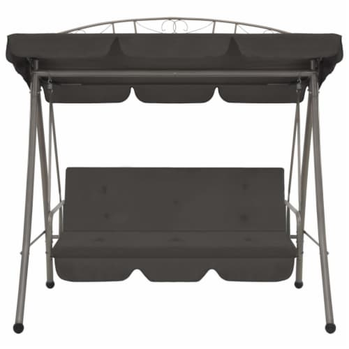 vidaXL Outdoor Convertible Swing Bench with Canopy Anthracite 78 x47.2 x80.7  Steel Perspective: back