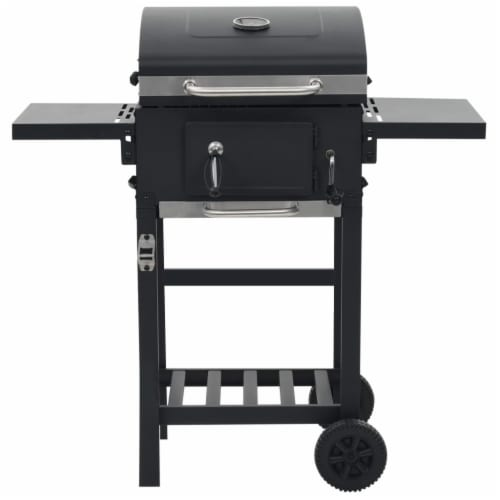vidaXL Charcoal-Fueled BBQ Grill with Bottom Shelf Black Perspective: back