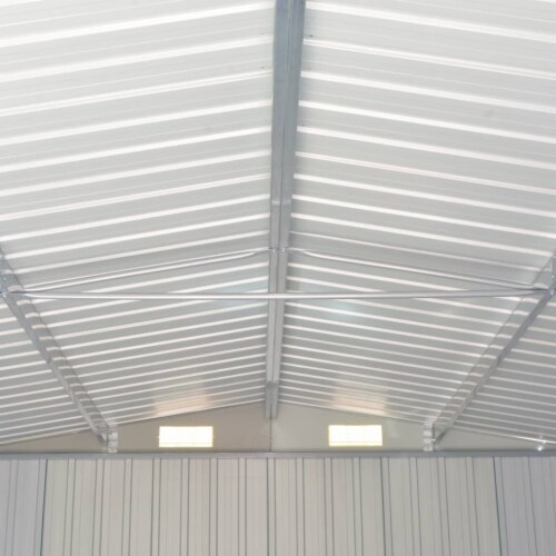 vidaXL Garden Shed Brown 101.2 x306.7 x71.3  Galvanized steel Perspective: back