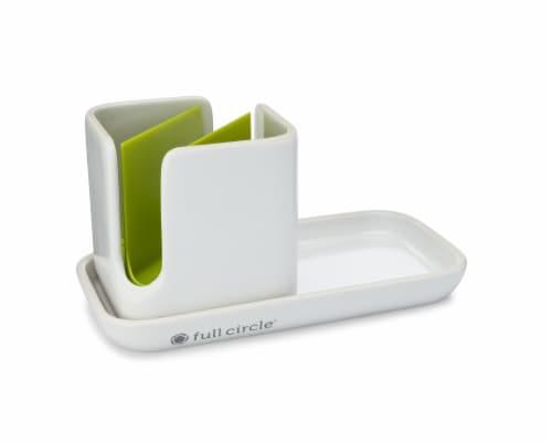 Full Circle Stash Modular Ceramic Sink Caddy - White Perspective: back