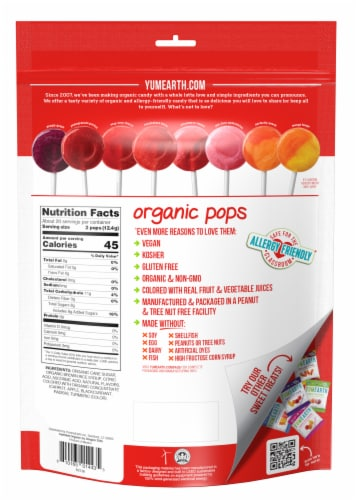 Yum Earth® Favorites Organic Pops Variety Pack Perspective: back