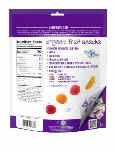 Yum Earth Organic Banana Cherry Peach & Strawberry Fruit Snacks Perspective: back