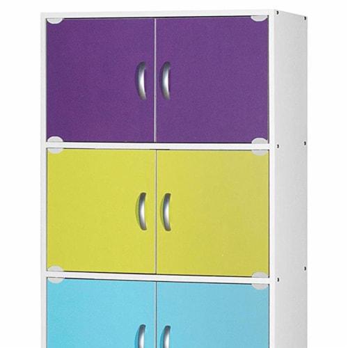 Hodedah 5-Shelf, 10-Door Bookcase in Rainbow Perspective: back