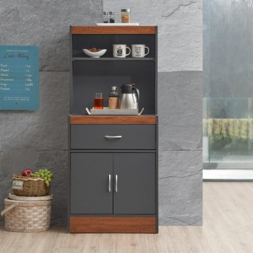 Hodedah 54  Tall Open Shelves 2-Door 1-Drawer Wooden Kitchen Cabinet in Gray-Oak Perspective: back