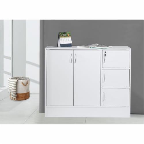 Hodedah Multipurpose Wooden Bookcase with 5-Doors 3-Shelves in White Perspective: back