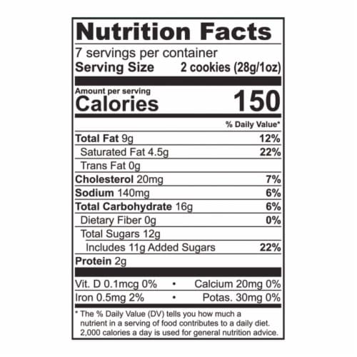Tate's Bake Shop White Chocolate Chip Macadamia Nut Cookies Perspective: back