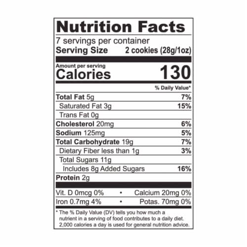 Tate's Bake Shop Oatmeal Raisin Cookies Perspective: back