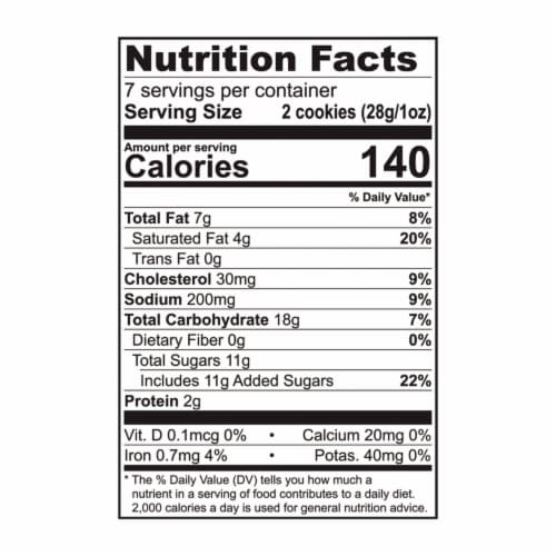 Tate's Bake Shop Butter Crunch Cookies Perspective: back