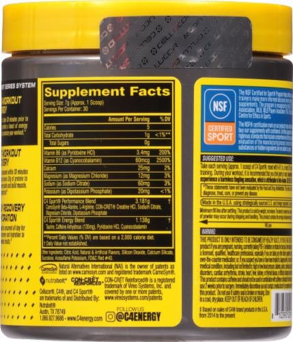 Cellucor C4 Sport Fruit Punch Pre-Workout Powder Supplement Perspective: back