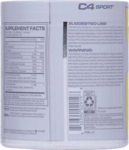 C4 Sport Blue Raspberry Pre-Workout Powder Supplement Perspective: back