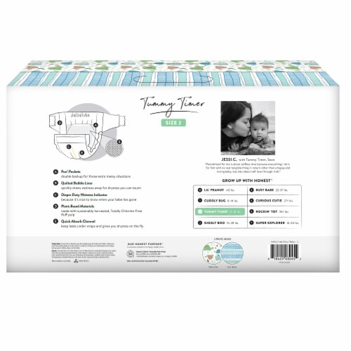 The Honest Co. Trains + Breakfast Print Size 2 Diapers Perspective: back