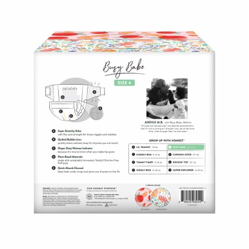 The Honest Co. Size 4 Bunnies + Sliced Fruit Print Diapers Perspective: back