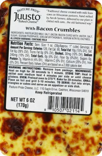 Pasture Pride Juusto Cheese With Bacon Crumbles Perspective: back