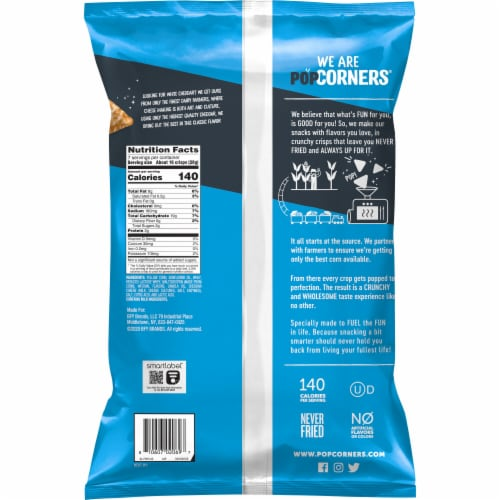 Popcorners White Cheddar Cheese Flavored Popped-Corn Snacks Perspective: back