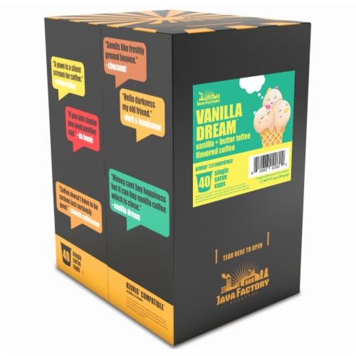 Java Factory Single Cup Coffee for Keurig K Cup Brewers, Vanilla Dream, 40 Count Perspective: back