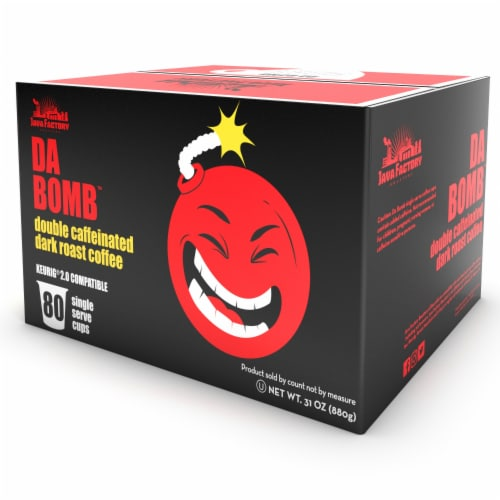 Java Factory Extra Bold Double Caffinated Coffee Pods, Da Bomb, 80 Count Perspective: back