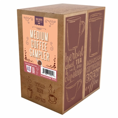TWO RIVERS COFFEE Medium Roast Coffee Pods, Variety Sampler Pack, 40 Count Perspective: back