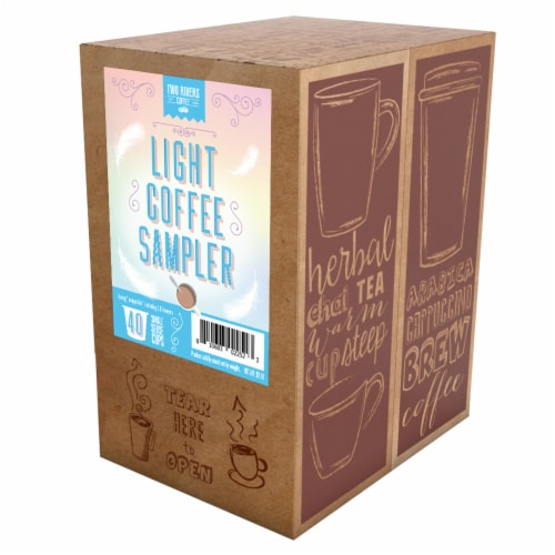 Two Rivers Coffee Light Roast Coffee Pods, Variety Sampler Pack, 40 Count Perspective: back