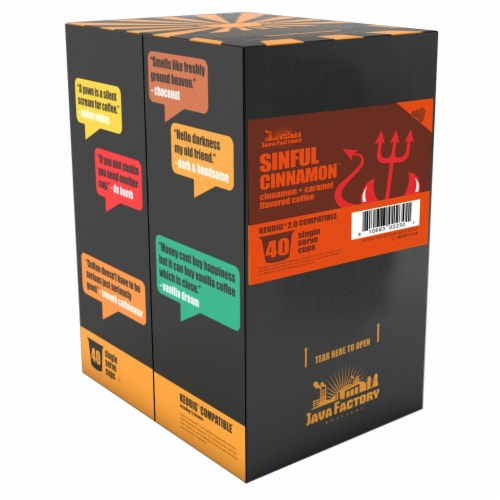 Java Factory Cinnamon and Caramel Flavored Coffee Pods, Sinful Cinnamon, 40 Count Perspective: back