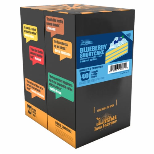 Java Factory Blueberry Shortcake Single-Cup Coffee for Keurig K-Cup Brewers, 40 Count Perspective: back