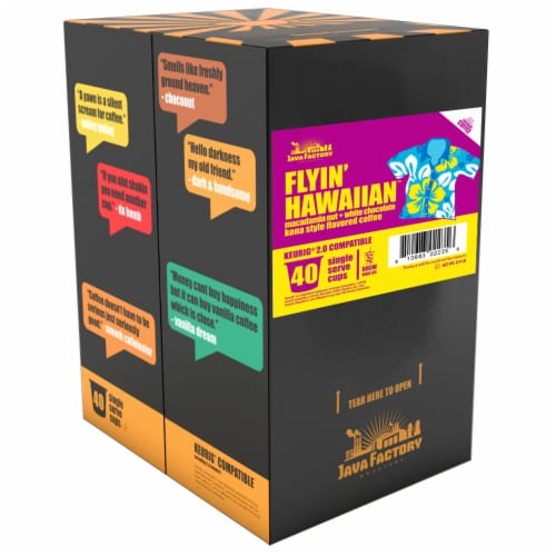 Java Factory Single-Cup Coffee for Keurig K-Cup Brewers, Flyin' Hawaiian, 40 Count Perspective: back