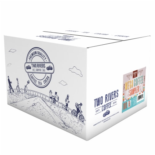 Two Rivers Coffee Mega Coffee Sampler Pods, Variety Sampler Pack, 100 Count Perspective: back