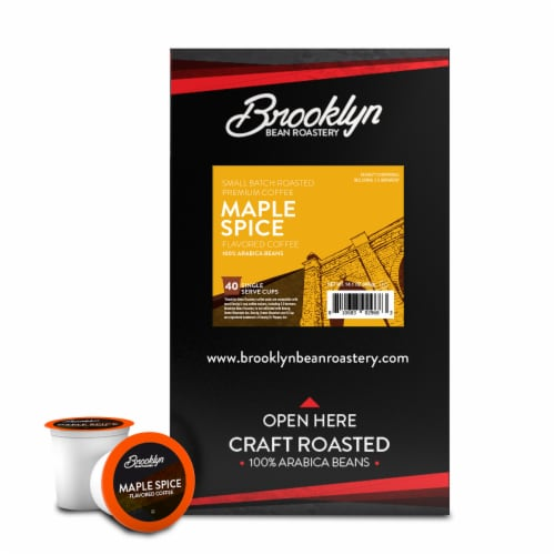 Brooklyn Bean Roastery Flavored Coffee Pods, Maple Cinnamon Spice, 40 Count Perspective: back