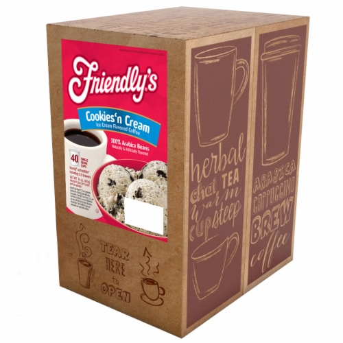 Friendly's Ice Cream Chocolate and Vanilla Flavored Coffee Pods, Cookies & Cream, 40 Count Perspective: back