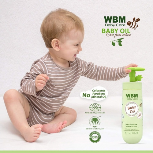 WBM Baby Care Body Oil, Moisturizing Massage Oil | Nutritious & Natural Ingredients - 10 Oz Perspective: back