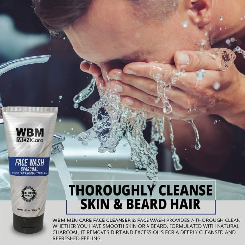 WBM Men Care Face Wash, Purifying & Hydrating Charcoal Cleanser, For All Skin Types | 5.29 Oz Perspective: back
