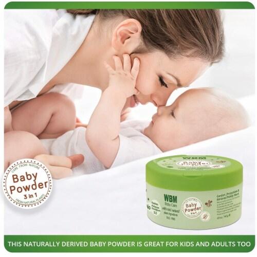 WBM Care Baby Powder   3 in 1 Skin Repairing, Nourishing & Drying Natural Powder   4.9 oz Perspective: back