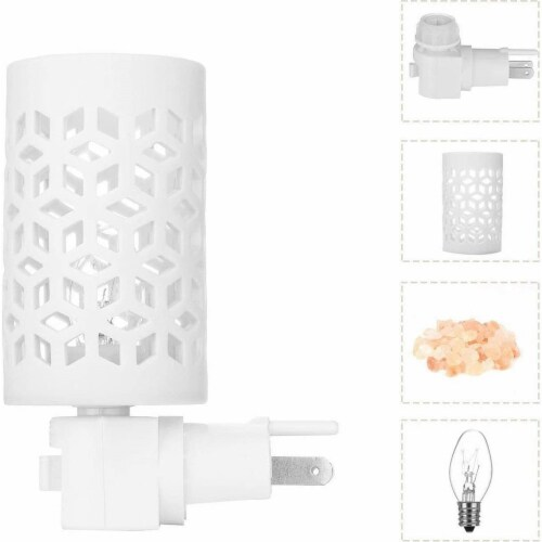 Himalayan Glow Pink Salt Lamp, Mosaic Ceramic Night Light, Wall Plug In, Rotatable | 2 Packs Perspective: back
