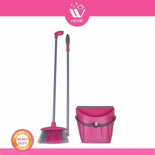 W Home Broom and Dustpan Combo, Heavy-Duty Cleaning, Lightweight Broom with Durable Bristles Perspective: back