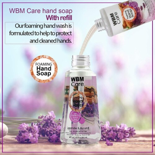 WBM Care Foaming Hand Soap, Liquid Hand Soap Refill with Lavender & Almond Oil, Pack of 3/13. Perspective: back