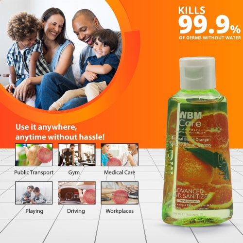 WBM Care Advanced Hand Sanitizer, Alcohol-Based, Blood Orange – Pack of 48/3.5 Oz Each Perspective: back