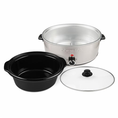 7.0 Quart Oval Slow Cooker, Stainless Steel Perspective: back