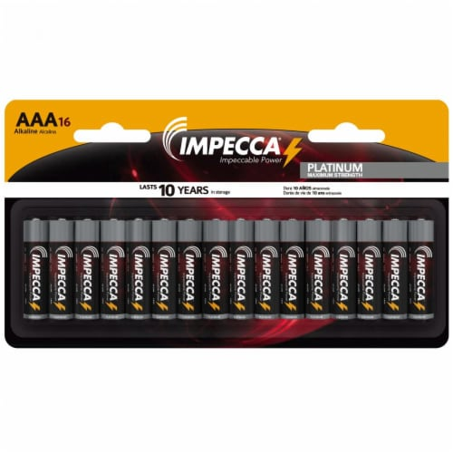 IMPECCA AAA Batteries High Performance Alkaline Battery Long Lasting, and Leak Resistant, LR6 Perspective: back
