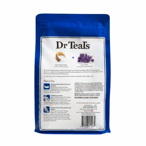 Dr Teal's Soothe & Sleep Pure Epsom Salt with Lavender Soaking Solution Perspective: back