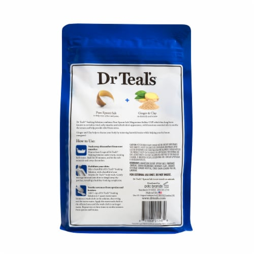 Dr Teal's Detoxify & Energize Pure Epsom Salt Soaking Solution With Ginger & Clay Perspective: back