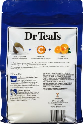 Dr Teal's Glow & Radiance Pure Epsom Salt Soaking Solution Perspective: back