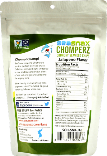Seasnax Chomperz Crunchy Seaweed Jalapeno Chips Perspective: back