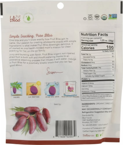 Fruit Bliss® Organic Deglet Nour Dates Perspective: back