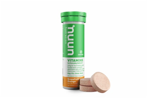 Nuun Hydration Grapefruit Orange Effervescent Vitamin Supplement Tablets Perspective: back