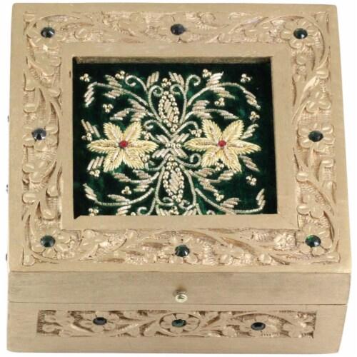 Handmade Mango Wood Jewelry Box With Zari Work On Green Velvet By Benzara Perspective: back