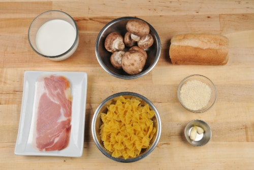 Home Chef Meal Kit Crispy Prosciutto and Mushroom Farfalle Perspective: back