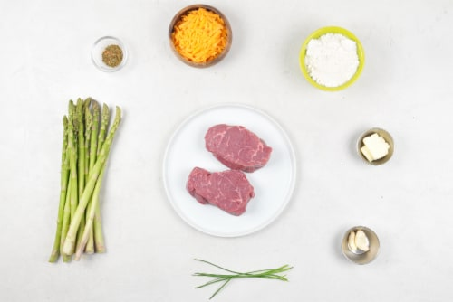 Home Chef Meal Kit Steak With Chimichurri Butter With Asparagus And Garlic Cheddar Biscuits Perspective: back
