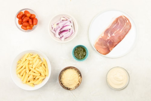 Home Chef Meal Kit Prosciutto Caprese Penne Perspective: back